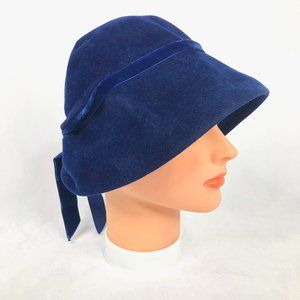 Vintage Mr. John Jr. Blue Velvet Hat